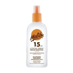 Malibu Medium Protection Sun Lotion Spray SPF15 With Vitamin E And Pro Vitamin B5 200ml