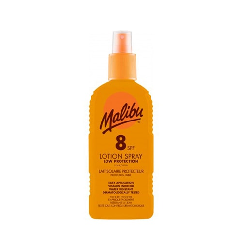 Malibu Sun Lotion Spray SPF8 Medium Protection Water Resistant 200ml