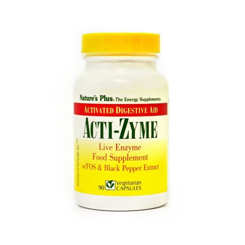 Nature's Plus Acti-Zyme with Live Food Enzymes FOS & Bioperine - 90 Caps