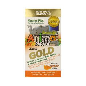 Nature's Plus Animal Parade Gold Children's Chewable Multi-Vitamin & Mineral Orange Flavour 120 Animals