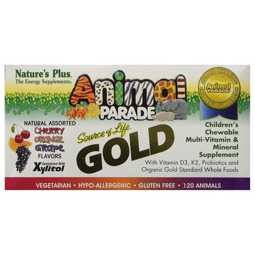 Nature's Plus Animal Parade Gold Children's Chewable Multi-Vitamin & Mineral Assorted Flavours 120 Animals