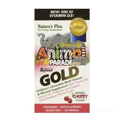 Nature's Plus Animal Parade Gold Children's Chewable Multi-Vitamin & Mineral Cherry Flavour 120 Animals