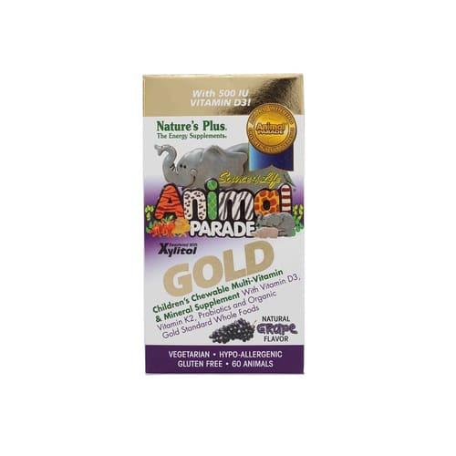 Nature's Plus Animal Parade Gold-Children's Multi-Vitamin & Mineral Grape Flavor 60 Animals