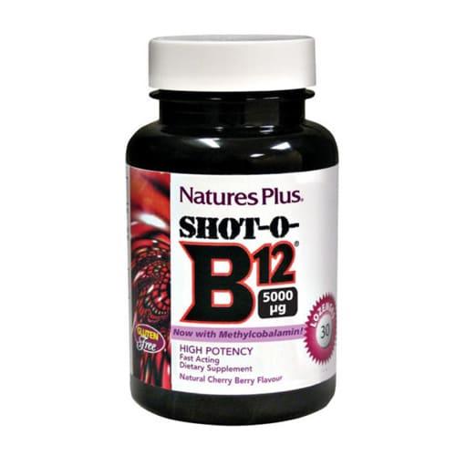 Nature's Plus Shot-O-B12 Natural Wild Berry Flavour 5000 Mcg 30 Lozenges
