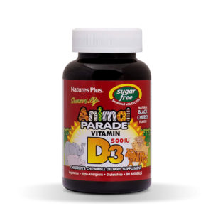 Nature's Plus Source Of Life Vitamin D3 Animal Parade 500iu Natural Black Cherry Flavour 90 Animals - Suger Free