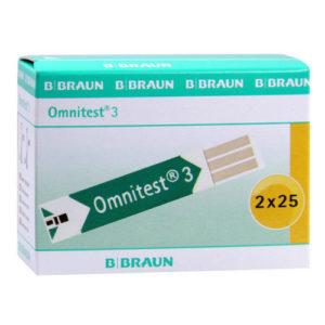 Omnitest 3 Blood Glucose Test Strips Pack Of 50 Braun