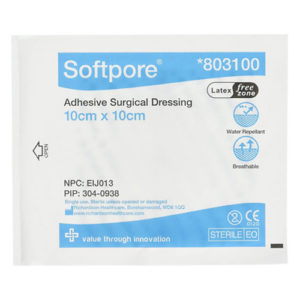 Softpore 803100 Adhesive Dressing 10cm X 10cm - Pack Of 50