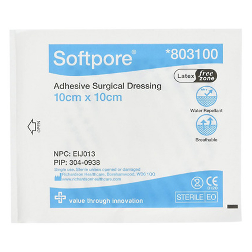 Softpore 803100 Adhesive Dressing 10cm X 10cm - Pack Of 50