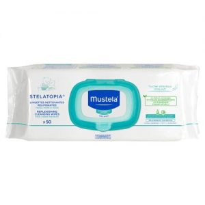Mustela Stelatopia Replenishing Cleansing Wipes For Atopic-Prone Skin 50 Wipes