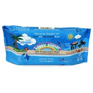Aquaint Happy Planet 100% Biodegradable Wipes - 60 Wipes