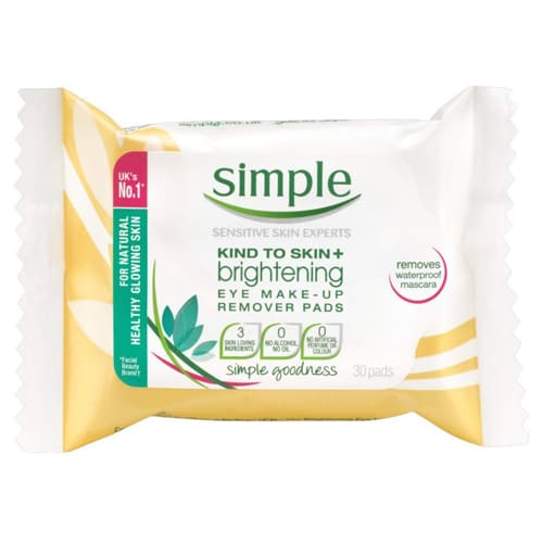 Simple Kind To Skin+ Brightening Eye Make-Up Remover Pads - Pack Of 30
