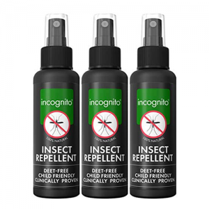 INCOGNITO ALL NATURAL DEET FREE ANTI MOSQUITO INSECT REPELLENT SPRAY (100ML) Pack of 3