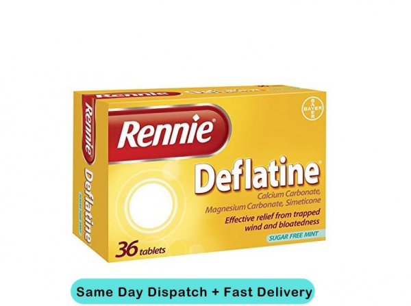 Rennie Deflatine Tablets - 36 | Effective relief from Trapped Wind & Bloatedness