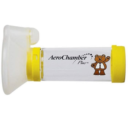 Aerochamber Plus spacer device, Child, Meduim, Yellow,with face mask, Latex free
