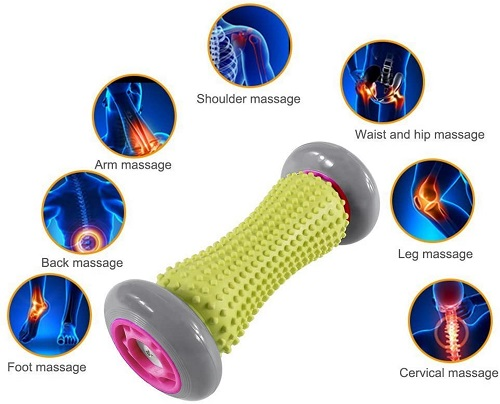 CRM Foot Massage Roller Muscle Roller Stick Wrists and Forearms Exercise Roller Massager for Plantar Fasciitis -Multi Colour