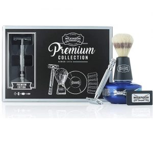 Wilkinson Sword Classic Double Edge Safety Razor Gift Set, Shaving Brush, Soap Bowl with x5 blades