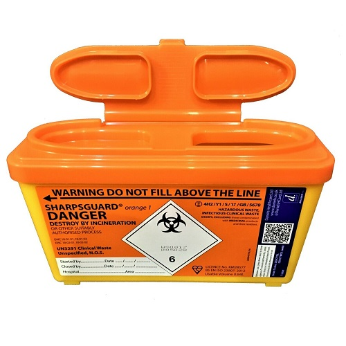 Daniels SHARPSGUARD Orange 1 litre Sharps Bin Container Safe Needle Disposal
