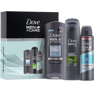 Dove Men+Care Daily Care Trio, Clean Comfort Deodorant and Shower Gel, Christmas gift set for Him 3 piece