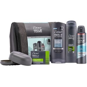 Dove Men+Care Daily Care Ultimate Wash Bag, Dove Deodorant for Men and Soap Dish Christmas Gift Set Christmas for Him 4 piece