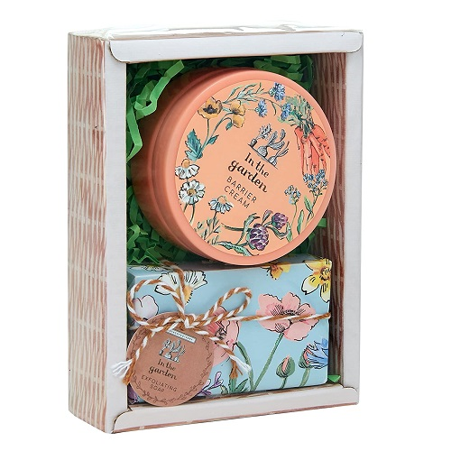 Heathcote & Ivory In The Garden Mini Hamper Gift Set With 50 ml Barrier Cream and Exfoliating Soap 70g