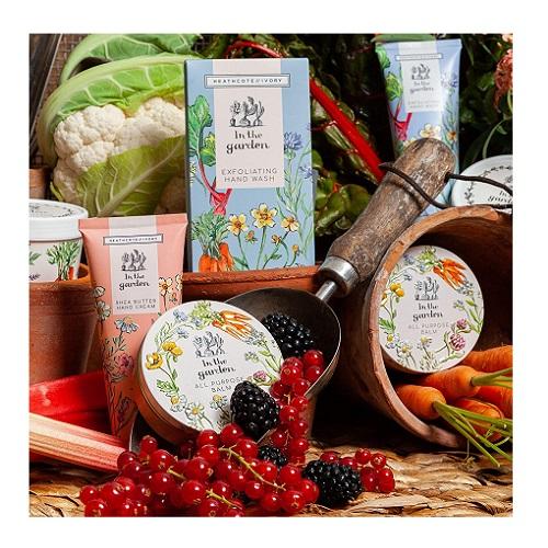 Heathcote & Ivory In The Garden Tea-Break Hand Essentials Gift Set With Exfoliating Hand Wash, Hand Cream, Nail Brush and Ceramic Mug, 0.48 kg