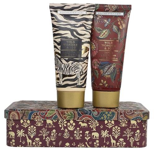 Heathcote & Ivory Wild Wonder & Joy Pampering Bodycare Duo In Reusable Embossed Tin (100Ml Body Wash And 100Ml Hand & Body Cream)