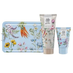 Heathcote and Ivory In The Garden Hand Care Tin, 100 ml Hand Cream and 50 ml Exfoliating Hand Wash